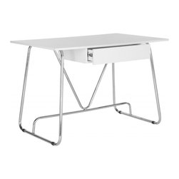 Safavieh - Malloy Desk - With a light, airy look and feel, the contemporary Malloy desk pairs bent chrome tubular legs with a sleek white lacquer top for a lively finish. The curved lines of the base add a fresh vitality to a form that fits a wide range of interior styles.