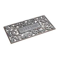 Welcome Oak Leaf Doormat - Pewter Silver - Welcome Oak Leaf Doormat - Pewter Silver