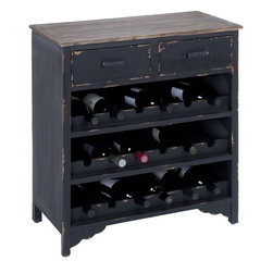 Benzara - Wooden Wine Cabinet with Additional Storage Space - This wine rack is a perfect addition to complete the decor of your bar area. Spacious, beautiful and extremely useful, this one is made out of the finest quality wood to ensure a long lasting and durable cabinet for you. With this wine cabinet, you can easily stock up your choicest wine and keep your bar full to cater to the different needs of your guests. The two spacious racks on the top ensure you can keep your extra utensils like bar screws and snack plates etc. comfortably without any hassles. The wine cabinet has 3 wine holding shelves with six holders each. This allows you to stock up as many wine bottles as you want. You can use the cabinet top to keep your wine glasses too.