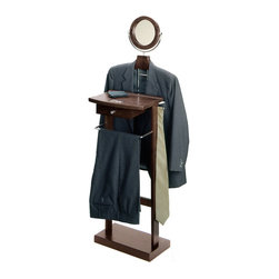 Winsome Wood - Winsome Wood Valet Stand w/ Wood Base in Dark Espresso - This Valet stand keeps great organization of your suit, dress shirt, shoes and accessories within reach. Sturdy construction with rich espresso finish. Features includes coat/shirt hanger, bar, mirror and drawer. Valet Stand (1)