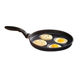 Swiss Diamond - Nonstick Plett (Swedish Pancake) Pan - Created for Swedish Pancakes, the Swiss Diamond Plett Pan is also ideal for perfectly round eggs, silver dollar pancakes, hamburger sliders, and more! It is the perfect replacement for leaky egg rings because its cast aluminum construction transfers heat up the sides of the pan, cooking the eggs all the way around rather than just on the bottom. The Plett Pan is also ideal for dorms, first apartments, and bachelor pads: heat up two halves of an English muffin, a slice of Canadian bacon, and cook an egg  all in one pan! No sticking, no burning. You dont even need butter or oil.