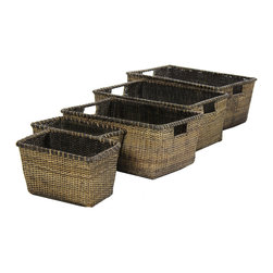 Oriental Furniture - Rattan Space Saver Storage ( Set of 5 ) - Antique Finish - This beautifully crafted five piece collection of nested baskets was woven from fine Asian split vine rattan. Designed to provide a wide selection of sizes for convenient and practical storage, it is a great set for clothes, linens, towels, and bedding as well as toys, craft kits, and much more.
