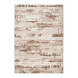 Surya - Surya Contempo Stripe Brown Rug - With neutral tones of ivory, tan and coffee bean, the Surya Contempo rug makes a gorgeous statement in a modern home. Wide stripes of blended color create an earthy look reminiscent of beautifully hand-designed stonework. Available in several sizes. 100% polypropylene. Rug pad recommended. Spot clean with soap and water.