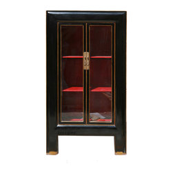 Golden Lotus - Black Piano Painted Tall Storage Glass Display Cabinet - This is a elegant black tall cabinet which is made of solid elm wood, its painting is high quality piano lacquer.  This cabinet can be used as book case or display cabinet.
