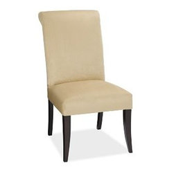 "PB Comfort Upholstered Dining Side Chair, Chenille Light Wheat - We set out to create a chair with the sink-in comfort of our finest upholstery. The result is PB Comfort, crafted with ample proportions and cushioning that invite you to settle in. Side Chair: 21.5"" w x 29""d x 41"" h Armchair: 26.5"" w x 29.5""d x 41"" h Sturdily crafted with a hardwood frame, legs and backrest. For shipping and return information, click on the shipping tab. When making your selection, see the Fast 5 Day Delivery and Special Order fabrics below. View our {{link path='pages/popups/fb-dining.html' class='popup' width='480' height='300'}}Furniture Brochure{{/link}}."