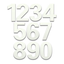 bFuller Marshmallow White House Numbers - The bFuller Marshmallow White House Numbers are a great finishing touch for your home. These modern address numbers were designed by Ginger Finley from HouseArt and they feature hidden mounting hardware for a clean look. bFuller home address numbers come in a 6 inch height so they will be clearly visible.