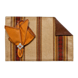 Silverado Home - Genghis Walnut Placemat - Sold in Sets of Four: