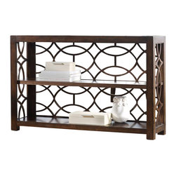 Hooker Furniture - Phaidon Console - Intertwine beauty into your living room. Crafted with poplar solids and a walnut veneer, more than your keepsakes will be on display. While the center shelf is adjustable, your view won't be hindered to admire this stunner.