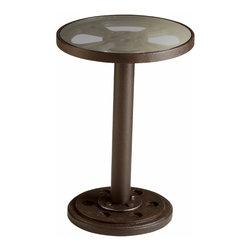 Bronze Round Gear Glass Table - Medium - *Medium Rockford Table