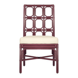 "Selamat - Brighton Plum Side Chair - Borrowing English garden influence, the Brighton side chair's trellis pattern mingles stylishly well in a modern setting. This smart geometric style lends a lighthearted note in plum. 20""W x 24.5""D x 37""H; Sustainably-grown rattan with leather bindings; Hand-applied finish; Upholstered rice fabric with poly fiber fill"