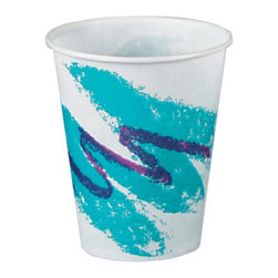 SOLO CUP - C-PPR CUP 5OZ WXD JAZZ 30/100 - Extra rigidity for large drinks and ice. Fully waxed to extend usability. Two-piece construction with tightly rolled rim. Satin-smooth finish inside and out.. . . . Jazz® Design. 5-oz. 100 30 3,000. . . Wax-Coated Paper Cold Cups. Dimensions: Height: 1.625, Length: 1.30733, Width: 1.09375. Country of Origin: US   CAT: Foodservice Cups/Lids Paper Hot/Cold & Combos