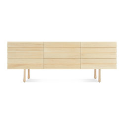 Blu Dot - Lap 2 Door / 2 Drawer Dresser, Maple / Maple - Overlapping wood drawer and door fronts give the collection its name, while the white washed maple finish and a scene stealing leg bring the visual charisma. With soft close doors and drawers. Three leg finish options available.