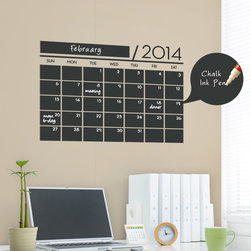Simple Shapes - Chalkboard Calendar - 2014 Wall Decal - This calendar wall design incorporates a black chalkboard vinyl that you can write on with chalk or chalk ink pens. It is applied directly to the wall. (Chalk Ink pen not included.)