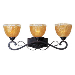 Joshua Marshal - Three Light Oil Rubbed Bronze Amber Ice Glass Vanity - Three Light Oil Rubbed Bronze Amber Ice Glass Vanity