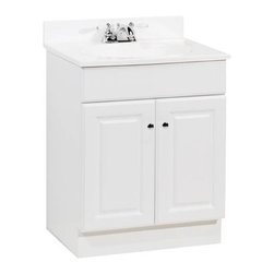 RSI HOME PRODUCTS - 24 x 18 White 2 Door Vanity with Top - Features: