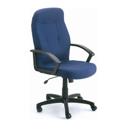"BOSS Chair - High Back Chair in Blue Fabric w Lumbar Suppo - Nothing matches fabric when it comes to blending casual style with comfort. This high back swivel chair is the perfect choice for your casual or contemporary office, with its dazzling blue fabric upholstery that offsets the sturdy black frame. With contoured design, clean styling, arm rests and adjustable features, you won't be replacing this durable chair for years. Passive ergonomic seating with built in lumbar support. Upright locking positions. Pneumatic gas lift seat height adjustment. Adjustable tilt tension control. Large 27"" nylon base for greater stability. Hooded double wheel casters. Cushion color: Blue. Base/wood: Black. Seat size: 20 in. W x 20 in. D. Seat height: 18 in. -22 in. H. Arm height: 24.5 in. -28 in. H. Overall dimension: 27 in. W x 27 in. D x 42-46 in. H. Weight capacity: 250 lbs"