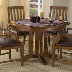 HomeStyles - 5-Pc Game Table Set - Includes game table and four arm chairs. Flip table top. Can be used as dining set. Quickly turns into felt-lined game table surface. Eight drink holders and cheap slots. Cushion upholstered seat. Made from Asian hardwood solids and oak veneers with brown vinyl. Oak finish. Chair: 24 in. W x 22.75 in. D x 40 in. H. Table: 48 in. L x 48 in. W x 30 in. H. Table Assembly Instructions. Chair Assembly InstructionsThis table will live up to its double function for years to come. Invite friends or family over for a game night with Home Styles' Arts & Crafts Game Table.