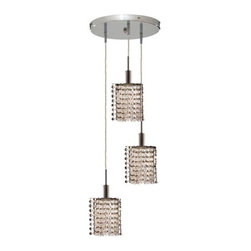 """PWG Lighting / Lighting By Pecaso - Wiatt 3-Light 9"""" Crystal Ceiling Pendant 1091D-R-P-CL-EC - Whether shown individually or as a collection, our Mini Crystal Chandeliers are stunning in any fashion. This stylish collection offers stunning crystal in a range of colorful options to suit every decor."""