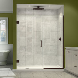 """Dreamline - Unidoor Plus 35-1/2 to 36""""W x 72""""H Hinged Shower Door - The Unidoor Plus Shower Door from DreamLine, the only shower door you need to complete any shower project. The UNIDOOR combines premium 3/8"""" thick clear tempered glass with a sleek frameless design for the look of custom glass at an amazing value. This collection is extremely versatile with an incredible range of sizes to accommodate shower openings from 23"""" to 61"""" in width. With clean lines, modern touches and an upscale look, the UNIDOOR Plus gives a breath of fresh style to any bathroom space."""