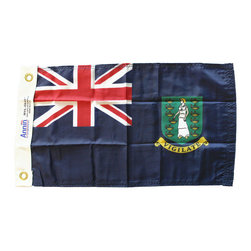 "Flagline - British Virgin Islands (Blue) - 12""X18"" Nylon Flag - Flags were, historically, the sole method of communication for vessels at sea. Over the years rules and regulations have developed to manage how and where flags should be used. As a matter of courtesy, it is appropriate to fly the flag of a foreign nation on your boat when you enter and operate on its waters. The courtesy flag, as it is called, is hoisted only after the appropriate authorities have granted clearance. Until clearance is obtained, a boat must fly the yellow quarantine flag. It is also considered common courtesy to fly the national flag(s) of your guest(s) on board, if they have a different nationality than the ensign the boat is showing. Made of high quality weather-treated nylon, these flags sport a canvas header with brass grommets - perfect for any marine use. When a flag has a civil and a state version, it is the civil version that is appropriate for use as a courtesy flag"