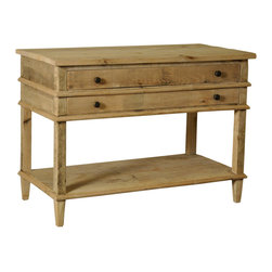 Washed Oak 2-Drawer Nightstand - A useful furniture piece for guest rooms and for bedrooms which serve as a friendly, solacing retreat, this unusually wide nightstand boasts two roomy full-width drawers and an undershelf beneath for convenient storage, but also contributes its fair share of interest to your decor with a washed finish over reclaimed wood construction. Beveled vertical bands and tapered square legs present a geometry which settles nicely into surroundings ranging from rustic to romantic.