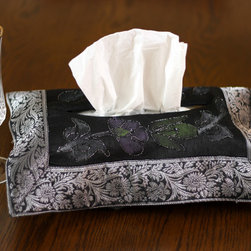 "Tissue Box Covers - shiny ""Mystic Black"" tissue box cover. Hand painted design made in India. Dupion Silk fabric. Unique and decorative tissue box cover."