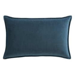 "Buckley Teal 24""x16"" Pillow with Feather-Down Insert - Pure color, two ways. Elegant plush cotton velvet reverses to a casual textured weave, framed by a quarter-inch hem with the classic look of piping. Our decorative pillows include your choice of a plush feather-down or lofty down-alternative insert at no extra cost."