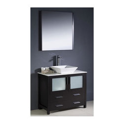 Fresca - Torino 36 in. Modern Bathroom Vanity w Vessel Sink (Soana Brushed Nickel) - Choose Included Faucet: Soana Brushed NickelP-trap, Faucet, Pop-Up Drain and Installation Hardware Included. Single Hole Vessel Faucet Mount (Faucet Shown In Picture May No Longer Be Available So Please Check Compatible Faucet List). No overflow. Sink Color: White. Finish: Espresso. Sink Dimensions: 16 in. x16 in. x5 in. . Mirror: 31.5 in. W x 31.5 in. H x 1.25 in. D. Materials: Plywood w/ Veneer, Ceramic Sink. Vanity: 35.75 in. W x 18.13 in. D x 35.63 in. HFresca is pleased to usher in a new age of customization with the introduction of its Torino line. The frosted glass panels of the doors balance out the sleek and modern lines of Torino, making it fit perfectly in either Town or Country decor. Available in the rich finishes of Espresso, Glossy White and Light Oak, all of the vanities in the Torino line come with either a ceramic vessel bowl or the option of a sleek modern ceramic undermount sink.