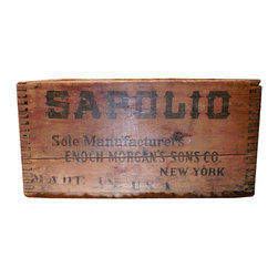 """Wooden Sapiolo Soap Crate - Wooden Sapiolo soap crate from Enoch Morgan & Sons Co. NY, shipping stamp on side panel reads """"KCCO Seattle 08"""""""