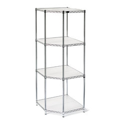 """Frontgate - Four-Tier Corner Shelf & Liners - The adjustable shelves of our Steel Pantry Shelving will organize your pantry with ease. Made of heavy-duty steel with a chrome finish, each shelf is a roomy 18"""" deep and includes semi- clear polypropylene liners that keep small objects from falling through. Each four tier shelf holds up to 400 lbs. Each four-tier unit holds up to 1600 stationary lbs.. Extra deep storage shelving (18"""" from front to back) holds bigger, bulky loads. Includes semi-clear polypropylene liners for each shelf to keep smaller objects from falling through. Easily assembles . Storage shelves adjust to any desired height in increments of 1"""". Optional casters (sold separately) won't buckle under big loads, and make relocation easy. Chrome-finished. See shelf assembly instructions and corner shelf assembly instructions (PDF format)."""