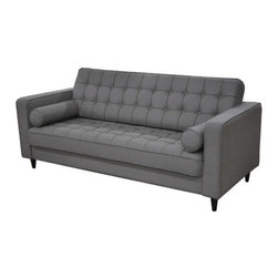 """Moe's Home Collection - Romano Sofa - Features: -Built from Eucalyptus wood, plywood, snake spring, straps, independent spring, and foam.-Wooden legs.-55% linen, 45% cotton.-Transitional style.-Tufted back and seat.-Overall: 31.5"""" H x 79.5"""" W x 33.5"""" D, 116.7 lbs.-Romano collection.-Collection: Romano.-Distressed: No.Dimensions: -Seat height:17.3"""".-Overall Product Weight: 116.7 lbs.Warranty: -1 Year warranty."""