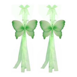 "Bugs-n-Blooms - Butterfly Tie Backs Green Crystal Nylon Butterflies Tieback Pair Set Decorations - Window Curtains Holder Holders Tie Backs to Decorate for a Baby Nursery Bedroom, Girls Room Wall Decor - 5""W x 4""H Crystal Curtain Tieback Set Butterfly 2pc Pair - Beautiful window curtains tie backs for kids room decor, baby decoration, childrens decorations. Ideal for Baby Nursery Kids Bedroom Girls Room.  This gorgeous butterfly tieback set is embellished with sequins, glitter and has a beaded body.  This pretty butterfly decoration is made with a soft bendable wire frame & have color match trails of organza ribbons. Has 2 thick color matched organza ribbons to wrap around the curtains. Visit our store for more great items. Additional styles are available in various colors, please see store for details. Please visit our store on 'How To Hang' for tips and suggestions. Please note: Sizes are approximate and are handmade and variances may occur. Price is for one pair (2 piece)"