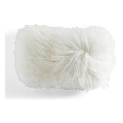 Grandin Road - Mongolian Lamb Fur Lumbar Pillow - Rectangular pillow with premium, cream-colored lamb fur on one side. An indulgent addition to the bedroom or living room. Cover has a 100% lamb fur front, 100% polyester back. Interior pillow has a cotton cover and 95/5 feather/down fill. Add the David Bromstad Mongolian Lamb Fur Lumbar Pillow to your bed or sofa, and transport your decor to an exotic new dimension. Genuine lamb fur provides a warm and soft cushion of the sort found in Mongolian yurts-but its shaggy good looks are equally at home in a chic urban loft or forest cabin.  .  .  .  . A Grandin Road exclusive. Imported.