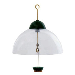 Droll Yankee 15 in. Green Dome Squirrel Guard - Keep your bird feeder free of squirrels with the Droll Yankees 15 in. Green Dome Squirrel Guard. Intelligently designed, this stylish green dome forms a protective covering on top of the bird feeder. Hang the feeder under this dome on its durable brass rod and get protection from rain, keeping the feed dry and fresh. A collet fastener on the brass rod allows you to adjust the dome's height and distance from the feeder. This dome guard is built to suit any bird feeder.The Droll Yankees StoryWhat began as two New England historians, Alan Bemis and Peter Kilham, recording stories, would eventually set the stage for today's beloved bird feeder company, known for making The World's Best Bird Feeders. Why droll? That came from a story by Balzac, and after an experiment with plastic tubing resulted in a frenzy of feathered friends, founder Peter Kilham knew he had something special on his hands. Still located in Connecticut, still proudly made in the USA, the Droll Yankees story lives on - and when you order one of their bird feeders, you'll understand.