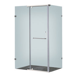 """Aston - Aston 48x35, Semi-Frameless Shower Enclosure, Stainless Steel - A modern bath fixture that is as luxurious as it is practical; the SEN975 semi-frameless hinge pivot enclosure is the perfect solution for an upcoming remodel project. With 3/8"""" (10mm) ANSI-certified tempered clear glass, chrome or stainless steel finish hardware, clear premium leak-seal strips, durable steel supports and an optional 2.5"""" low profile fiberglass-reinforced shower base, you will experience the stability and support you desire."""