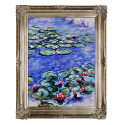 """overstockArt.com - Monet - Water Lilies Oil Painting - 30"""" x 40"""" Oil Painting On Canvas Hand painted oil reproduction of a famous Monet painting, Water Lilies. The original masterpieces were created between 1914 and 1917. During these years, Monet's cataracts got progressively worse but that seemed to have little effect on his sense of color and harmony. Today it has been carefully recreated detail-by-detail, color-by-color to near perfection. Why settle for a print when you can add sophistication to your rooms with a beautiful fine gallery reproduction oil painting? While Monet successfully captured life's reality in many of his works, his aim was to analyze the ever-changing nature of color and light. Known as the classic Impressionist, Monet cannot help but inspire deep admiration for his talent in those who view his work. This work of art has the same emotions and beauty as the original. Why not grace your home with this reproduced masterpiece? It is sure to bring many admirers!"""