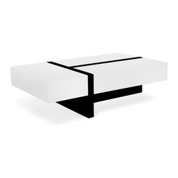 Zuri Furniture - Mcintosh High Gloss Coffee Table - White - Exquisitely contemporary, the McIntosh Coffee Table is a treasury of geometric styling and smart hidden storage. A high-shine lacquer finish of glossy white accented with glossy black contrast, drawing the discerning eye to its sleek modern lines.