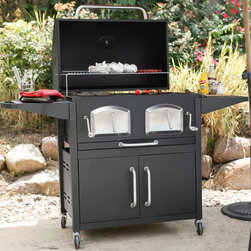 Landmann USA - Landmann Smoky Mountain Bravo Premium Charcoal Grill Multicolor - 591300 - Shop for Grills from Hayneedle.com! For the mountain man in all of us there's the Landmann USA Smoky Mountain Bravo Premium Charcoal Grill. This large-capacity grill offers 808 square inches of cooking space and two large side tables so you can prepare your meals and cook all at the same station. Its heavy-duty steel construction will never let you down and the adjustable porcelain-coated cast iron cooking grates can handle the heat. You'll also want to take advantage of this unit's two front charcoal access panels which make access to the fire much simpler and the large top and bottom vents that provide perfect heat control. And did we mention that this grill is built into a cart with everything from easy to use controls temperature gauges cabinet storage and maneuverable large casters? The Landmann USA Smoky Mountain Bravo Premium Charcoal Grill measures 63L x 26W x 46H inches overall. Some assembly is required.