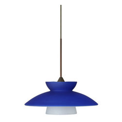 Besa Lighting - Besa Lighting 1XT-271823-LED Trilo 1 Light LED Cord-Hung Mini Pendant - Trilo 7 is comprised of three complementary glass segments, resulting in a playful glass display. Our Blue Matte glass is a dark primary blue pressed glass, with a white inner layer. This decor can add an edgy, classic, or contemporary feel to any room. When lit this gives off a light that is functional and soothing. The smooth satin finish on the clear outer layer is a result of an extensive etching process. This handcrafted glass uses a process where every glass is consistently produced using a press mold, keeping variations to a minimum. The 12V cord pendant fixture is equipped with a 10' braided coaxial cord with teflon jacket and a low profile flat monopoint canopy.Features: