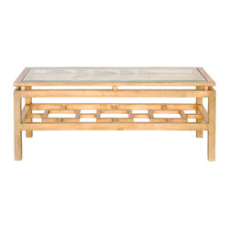 Kathy Kuo Home - Klee Hollywood Regency Gold Leaf Glass Coffee Table - Three dimensions of golden glamour add alluring architecture to any room. In front of a cozy sofa, it's the perfect height to hold your tea. The crystal clear glass reflects light from a chandelier or candles throughout the room. The geometric lines create an illusion of depth while occupying only a minimal amount of floor space.