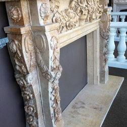 Our new Houston Showroom! - Model MFP 194 Italian Baroque style mantle in Limestone. Can be found on website.