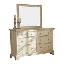 American Drew - American Drew Ashby Park Dresser with Rectangular Mirror - The Ashby Park collection is a casual, lifestyle collection with multiple options that will help you create the perfect bedroom. The design of the collection is simple, yet full of look. An eclectic mix of colors and materials gives this group the ability to fit into many settings; create a metro, casual, transitional, traditional or even coastal appearance by changing or mixing up the colors and textures. There are five finish options. The three wood tone finishes are Natural, Nutmeg and Peppercorn and the stained colors are Sage and Sea Salt. The semi-transparent finish is accomplished by applying the various colored stains onto the strong grain characteristics of Ash. This allows the wood undertones to naturally add depth and highlights to each piece. The wood tone finishes use a Dark Copper finished knob. The stained colors use a Nickel finished knob. The hardware adds to the simple styling of the pieces. With multiple bed and case piece options, finish and hardware options, Ashby Park is sure to fit the style and needs of many homes.