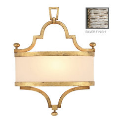 Fine Art Lamps - Portobello Road Silver Sconce, 440250ST - You've just discovered the standard in illumination, with a hand-tailored ivory crepe shade in perfect counterpoint to the bold finish. Mount it anywhere you want to cast a soft glow and make a style statement.