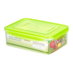 Kinetic - 88 oz. Plastic Food Storage Container w Silicone Sealed Lid - Kinetic Go Green Premium. 88 oz. Rectangle storage container. Silicone sealed locking lids. BPA-free plastic food storage. The Kinetic preservation technology helps food stay fresh up to three times longer for maximum freshness and superior spoilage prevention.. Keeps your foods fresher up to 3 times longer than conventional plastic food storage. Airtight and watertight silicone seal. Refrigerator and freezer-safe. Microwave-safe without the lids. Top rack dishwasher-safe. Clear body with green lid