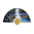 "Oriental-Décor - ""The Wood"" Hand-Painted Fan - This hand-painted fan depicts the wild beauty of a natural forest with vibrant blues and verdant greens. It's a perfect way to bring the harmony of nature into your space."
