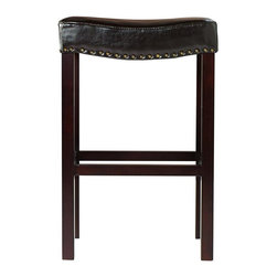 Home Decorators Collection - Curved Nailhead Bar Stool - Made of bonded leather and trimmed in antique brass or shiny chrome-finished nailheads, our Curved Nailhead Bar Stool is uniquely shaped to provide the most comfortable seat. The legs are quality crafted of birch wood in a black or dark brown finish. Includes nailhead embellishment around the leather seat. Black upholstery includes wood legs in black finish and brass nailheads. Dark brown upholstery includes wood legs in dark brown finish and brass nailheads. Textured ivory upholstery features wood legs in black finish and silver nailheads. Coordinates with the Curved Nailhead Counter Stool.