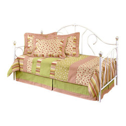 Hillsdale Furniture - Bristol Traditional Metal Daybed in White Fin - Classic style camel back daybed that you often see in a girl's room. The lovely frame has a white finish with swirling metal designs and silver tone finials on the four corners. An optional canopy is available. Includes side and back panels, and suspension deck. Optional trundle sold separately. Mattress not included. Classic style. 40 in. W x 3 in. D x 77.5 in. H. Suspension deck: 76 in. L x 39 in. WThis bed features a traditionally designed silhouette that will remain in vogue for years to come. By adding the optional canopy this bed becomes any little girl's dream bed, making her feel like a princess.