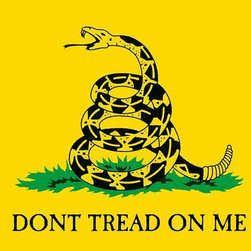 "US Flag Store 3ftx5ft Gadsden Flag - 3' x 5' Historic U.S. Flag U.S. Flag Store's Gadsden Flag is made in America! Named after the U.S. Revolutionary War brigadier general Christoper Gadsden, the Gadsden flag is most famous for its motto of ""Don't Tread on Me,"" which is emblazoned underneath a coiled rattlesnake. Printed on 200 denier nylon flag fabric, this Gadsden flag is of superior quality. Four rows of fly hem stitching give this flag additional strength to prevent fraying, and all of the side seems are double needle stitched. Finished with a heavy-duty, pure white header, this flag can be flown for extended periods of time. All of these features make this a quality American flag."