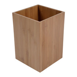 Bamboo Ecobio Waste Basket - This waste basket Ecobio is made of Bamboo and adds a natural touch to your bathroom. This squared shaped waste basket features an open top and an efficient Space saving system for any room with its capacity of 5-Liter/1.3-Gal. Length of 7.28-Inch, width of 7.28-Inch and height of 10.24-Inch. Wipe clean. Color Bamboo. This waste basket is the perfect addition to any bathroom and will look stylish in any room. Complete your Ecobio decoration with other products of the same collection. Imported.