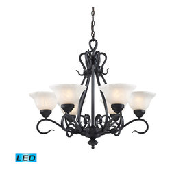 Landmark Lighting - Landmark Lighting Buckingham 6-Light Chandelier in Matte Black - LED - 800 Lumen - 6-Light Chandelier in Matte Black - LED - 800 Lumens belongs to Buckingham Collection by Landmark Lighting The Buckingham Family Of Transitional Fixtures Is ScaLED For Impact. The Hand-Forged Iron Frames Have Square Cut Arms With A Matte Black (Bk) Finish And White-Faux Marble Glass Shades. - LED, 800 Lumens (4800 Lumens Total) With Full Scale Dimming Range, 60 Watt (360 Watt Total)Equivalent , 120V Replaceable LED Bulb Included Chandelier (1)